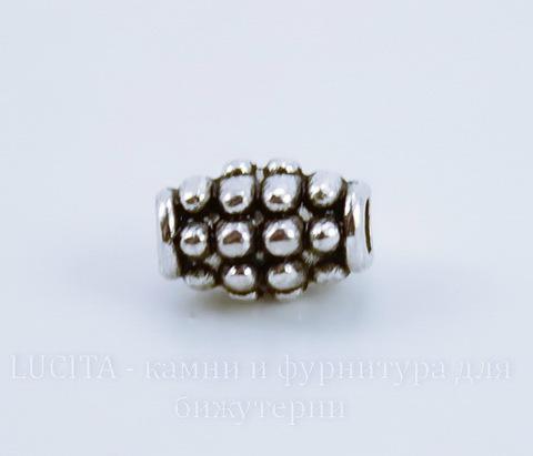 """Бусина металлическая """"Шипастая"""" (цвет - античное серебро) 7х5 мм, 10 штук"""