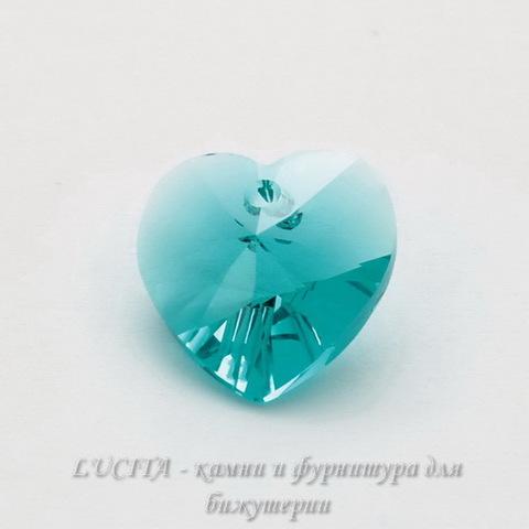 6202/6228 Подвеска Сваровски Сердечко Blue Zircon (14,4х14 мм)