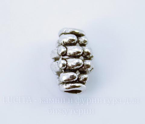 """Бусина металлическая """"Шипастая"""" 7х5 мм (цвет - античное серебро), 10 штук"""