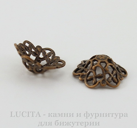 "Шапочка для бусины ""Винтажная"" филигрань (цвет - античная медь) 12х4,5 мм, 10 штук"