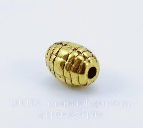 Бусина металлическая овальная (цвет - античное золото) 7х5 мм , 10 штук