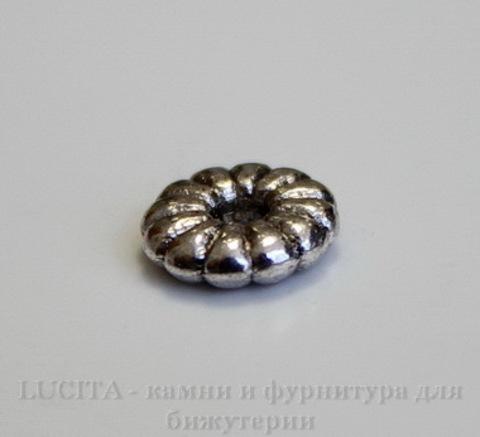 Бусина металлическая - спейсер (цвет - античное серебро) 7х2 мм, 10 штук