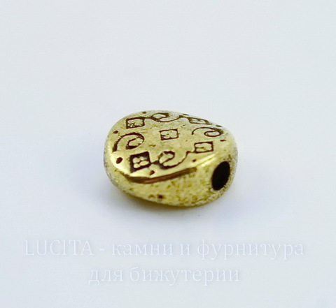 """Бусина металлическая """"Узоры"""" (цвет - античное золото) 7х3 мм, 10 штук"""