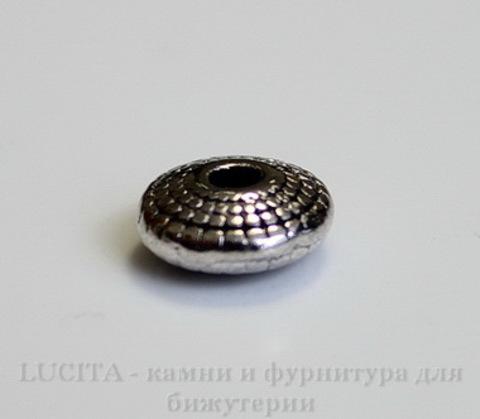 Бусина металлическая - рондель (цвет - античное серебро) 8х4 мм, 10 штук
