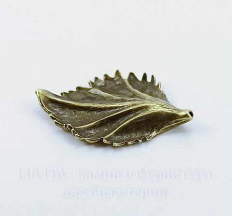 """Бусина металлическая - подвеска """"Лист"""" 44х30 мм (цвет - античная бронза)"""