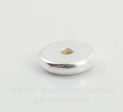 "Бусина - спейсер TierraCast ""Диск"" 7х2 мм (цвет-серебро)"