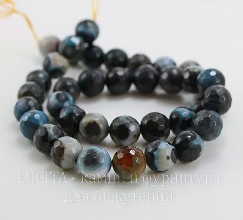 Бусина Агат, шарик с огранкой, цвет - черный с серо-голубым, 10 мм, нить ()