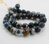 Бусина Агат, шарик с огранкой, цвет - черный с серо-голубым, 10 мм, нить