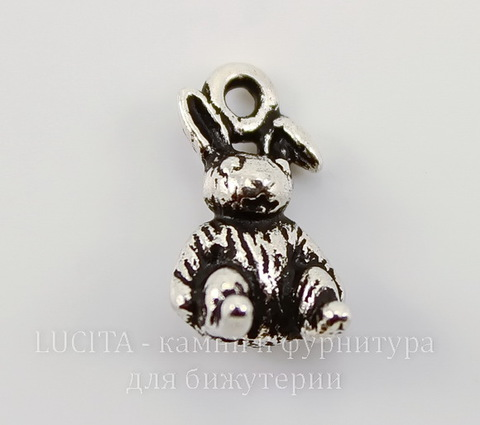 "Подвеска TierraCast ""Зайчик"" 3D (цвет-античное серебро) 13х8 мм"