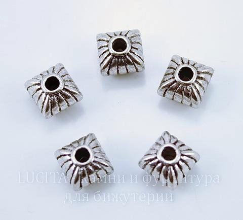 Бусина металлическая (цвет - античное серебро) 7х7 мм