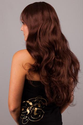 Волосы на кератиновых капсулах (Плоская форма) -100 штук. Оттенок #4- шоколад-волосы имеют прямую структуру