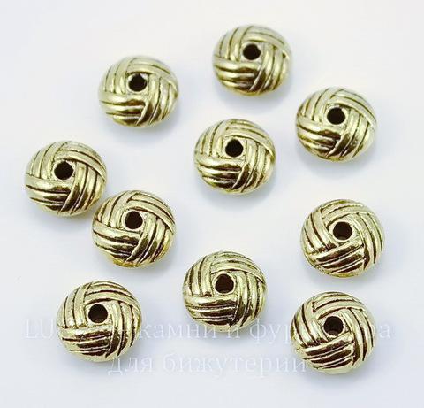 """Бусина металлическая - рондель """"Клубочек"""" (цвет - античное золото) 10х5 мм, 10 штук"""
