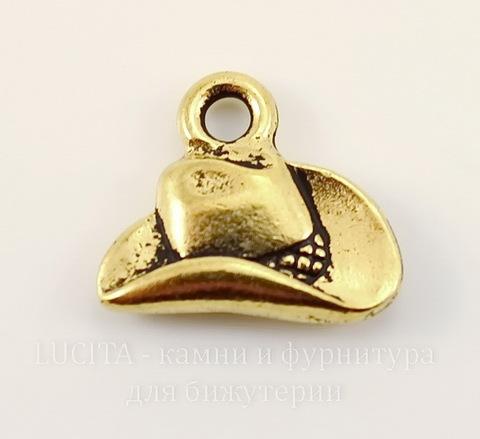 """Подвеска TierraCast """"Ковбойская шляпа"""" (цвет-античное золото) 13х12 мм"""