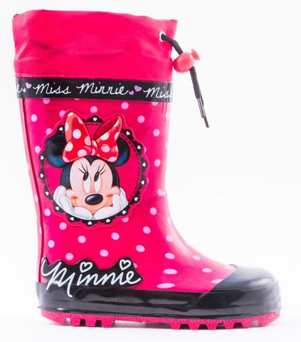 Резиновые сапоги Минни Маус (Minnie Mouse) утепленные для девочек, цвет красный. Изображение 1 из 1.