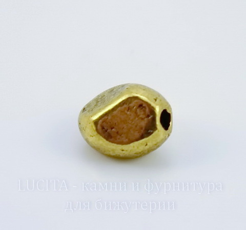 """Бусина металлическая """"Грани"""" (цвет - античное золото) 7х5 мм, 10 штук ()"""