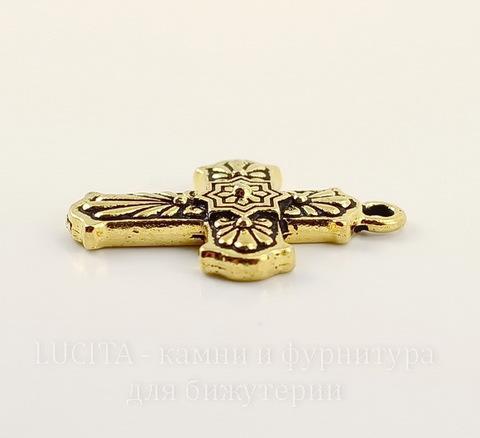 """Подвеска TierraCast """"Крест Талавера"""" (цвет-античное золото) 29х21 мм"""