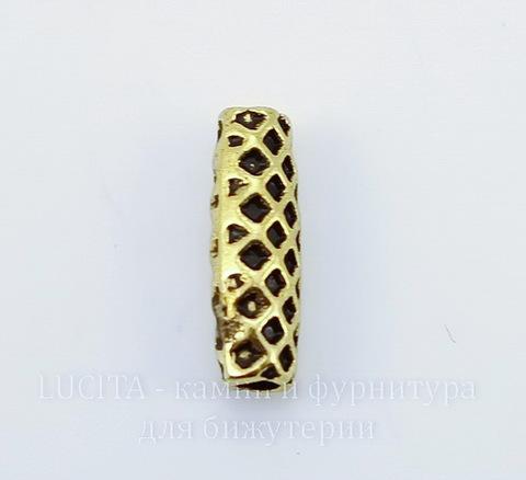 """Бусина металлическая трубочка """"Сеточка"""" (цвет - античное золото) 14х4 мм, 10 штук"""