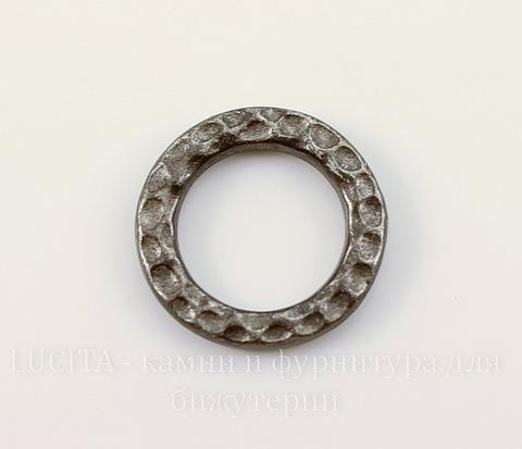 """Коннектор - кольцо TierraCast """"Hammertone"""" (цвет-черный никель) 13 мм"""