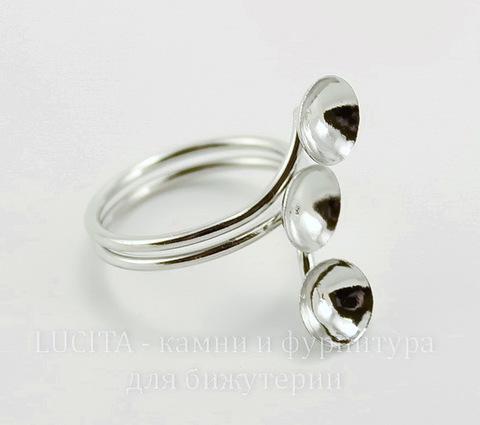 Основа для кольца с 3 площадками 8 мм (цвет - платина)
