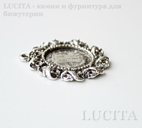 """Сеттинг - основа - подвеска """"Лента"""" для камеи или кабошона 14 мм (цвет - античное серебро) 28х26 мм ()"""
