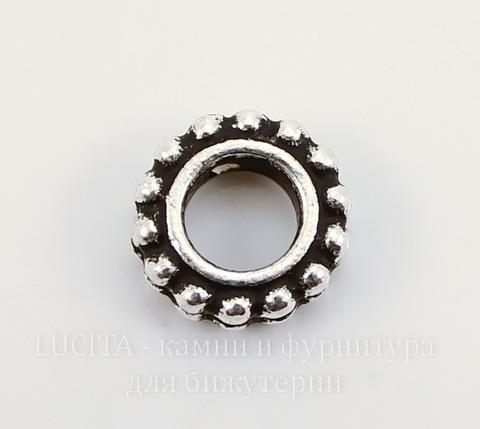 """Рамка для бусины круглая TierraCast """"Бусинки"""" (цвет-античное серебро) 9х3 мм"""