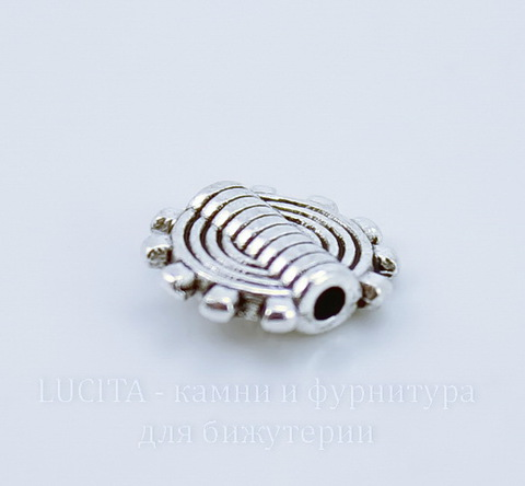 """Бусина металлическая """"Шестеренка"""" (цвет - античное серебро) 10х2 мм, 10 штук"""