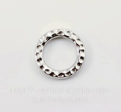 "Коннектор - кольцо TierraCast ""Hammertone"" (цвет-платина) 13 мм"