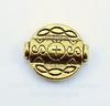 Бусина металлическая с узорами (цвет - античное золото) 18х16 мм
