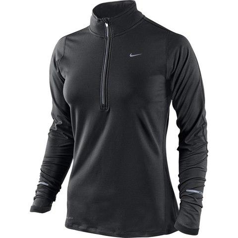 Футболка Nike Element H/Z (W) /Рубашка беговая чёрная
