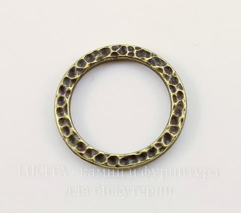 """Коннектор - кольцо TierraCast """"Hammertone"""" (цвет-античная латунь) 19 мм"""