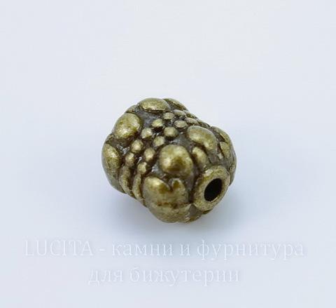 """Бусина металлическая """"Каменная"""" (цвет - античная бронза) 8х6 мм, 10 шт"""