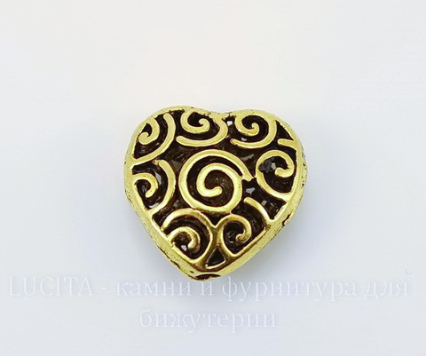 """Бусина металлическая """"Сердце в завитках"""" (цвет - античное золото) 16х16 мм"""