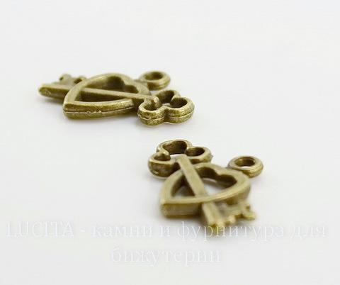 """Подвеска """"Сердце с ключиком"""" 18х14 мм (цвет - античная бронза)"""
