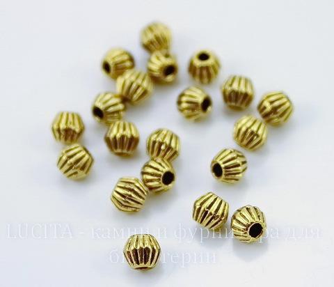 """Бусина металлическая - биконус """"Гофрированный"""" 4 мм (цвет - античное золото), 20 штук"""