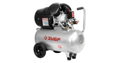 Компрессор ЗУБР электрический масляный, 2200 Вт, 350 л/мин, 2850 об/мин, 2 цилиндра, 8 бар, 50 л