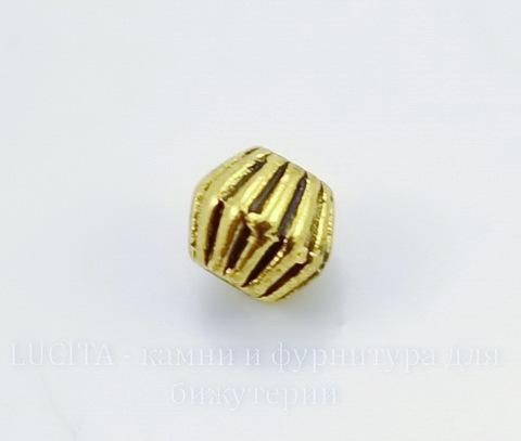 Бусина металлическая гофрированная (цвет - античное золото) 4 мм , 20 штук