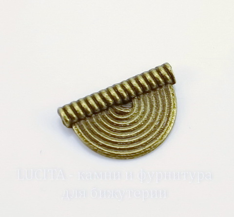 """Бусина металлическая """"Полукруг"""" (цвет - античная бронза) 16х10 мм"""