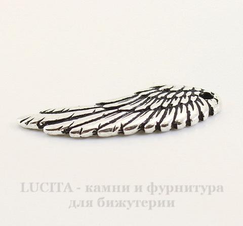"Подвеска TierraCast ""Крыло"" (цвет-античное серебро) 28х11 мм"