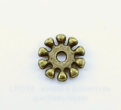 Бусина металлическая - спейсер (цвет - античная бронза) 10х2 мм, 10 штук