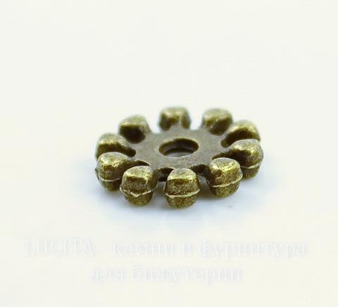 Бусина металлическая - спейсер 10х2 мм (цвет - античная бронза), 10 штук