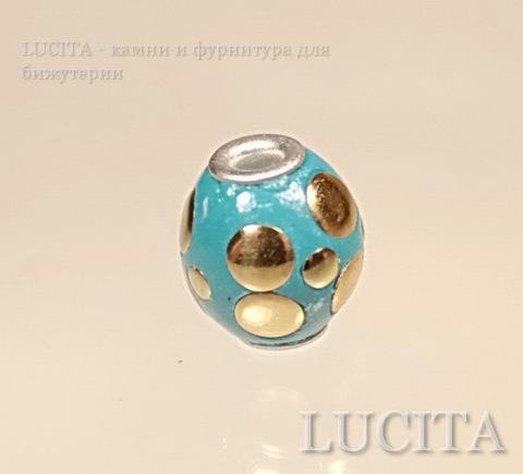 """Бусина """"Индонезийская"""" ручной работы голубая с золотом, 13-15 мм ()"""