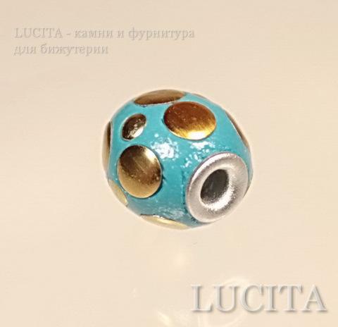 """Бусина """"Индонезийская"""" ручной работы голубая с золотом, 13-15 мм"""