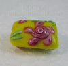 "Бусина Лэмпворк ""подушка"" желтая с розовым 18-19х13-15х8-10 мм ()"