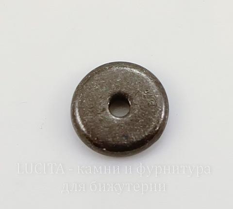"""Бусина - спейсер TierraCast """"Диск"""" (цвет-черный никель) 7х2 мм"""