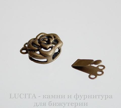 "Замок - зажим из 2х частей ""Цветок"" (цвет - античная бронза) 15х14х6 мм"