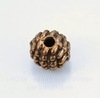Бусина металлическая шипастая (цвет - античная медь) 7х6 мм, 10 штук