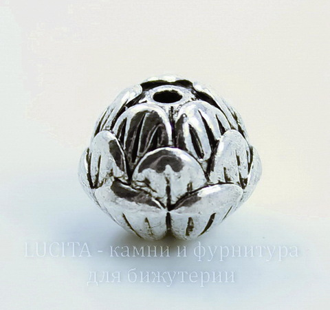 """Бусина металлическая """"Бутон"""" (цвет - античное серебро) 12х10 мм"""
