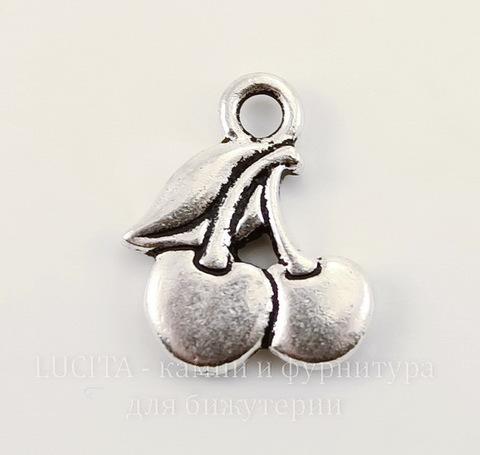 """Подвеска TierraCast """"Вишенки"""" (цвет-античное серебро) 17х14 мм"""