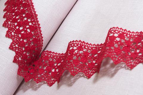 Ткань лен кружево (красный)