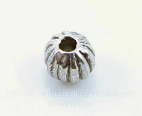 """Бусина металлическая """"Гофрированная"""" (цвет - античное серебро) 4 мм, 20 штук"""